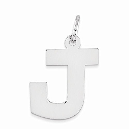 Sterling Silver Medium Block Initial J Charm, Best Quality Free Gift Box Satisfaction Guaranteed - shopvistar