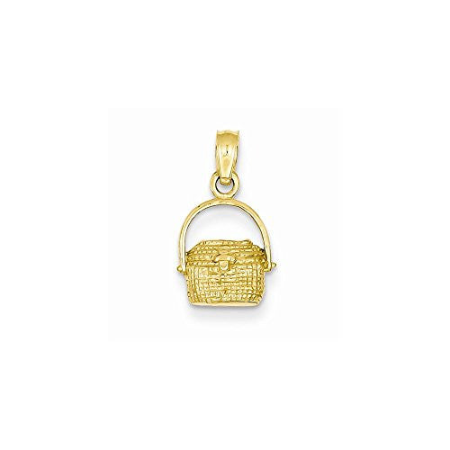 14k Small Nantucket Basket Pendant, Best Quality Free Gift Box Satisfaction Guaranteed - shopvistar