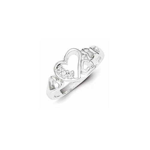 Sterling Silver CZ Heart Ring, Best Quality Free Gift Box Satisfaction Guaranteed - shopvistar