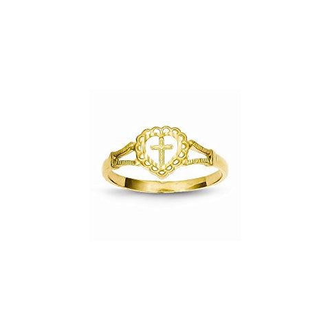 14K Dia-Cut Childs Heart & Cross Ring - shopvistar