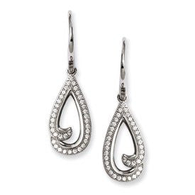 Sterling Silver & CZ Brilliant Embers Teardrop Earrings - shopvistar