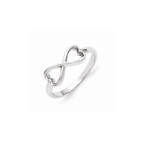 Sterling Silver Infinity Heart Ring , Size: 6 - shopvistar