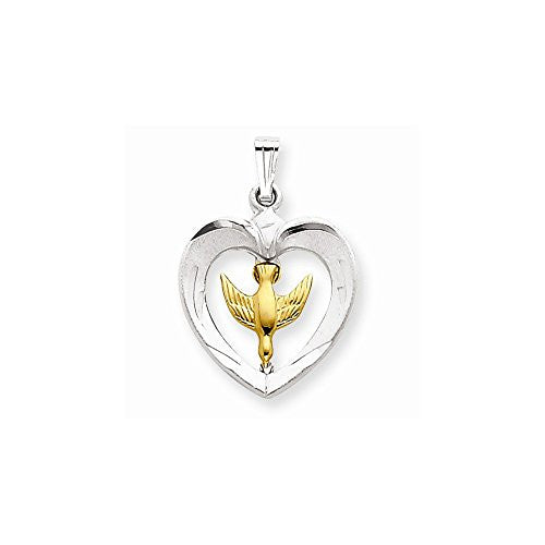 18k Gold -plated & Sterling Silver Dove Heart Pendant, Best Quality Free Gift Box Satisfaction Guaranteed - shopvistar