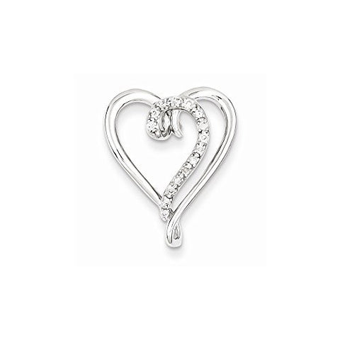 Sterling Silver & Diamond Heart Pendant Slide, Best Quality Free Gift Box Satisfaction Guaranteed - shopvistar
