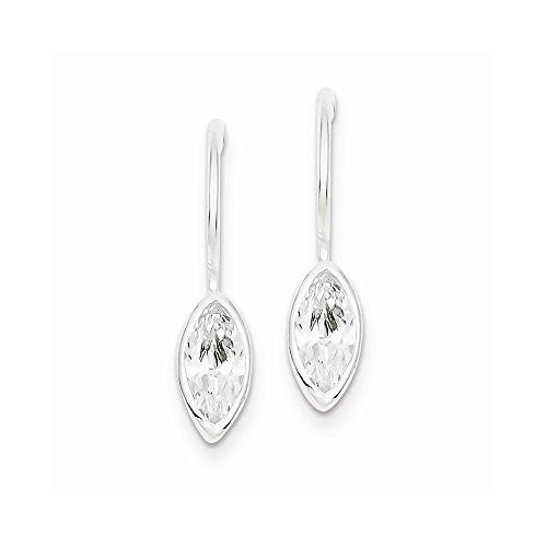 Sterling Silver CZ Marquise Shepherd Hook Earrings - shopvistar
