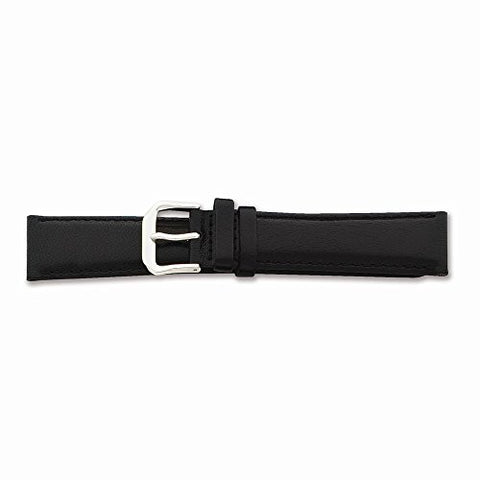 13mm Black Smooth Leather Silver-tone Buckle Watch Band, Best Quality Free Gift Box Satisfaction Guaranteed - shopvistar