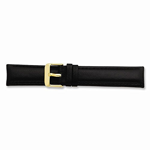 20mm Black Glove Leather Gold-tone Buckle Watch Band, Best Quality Free Gift Box Satisfaction Guaranteed - shopvistar