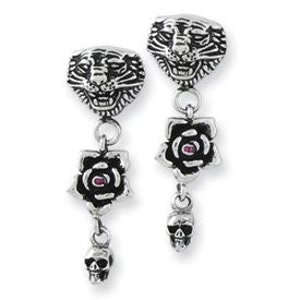 Stainless Steel Ed Hardy Tiger, Rose w/CZ & Mini Skull Dangle Earrings - shopvistar