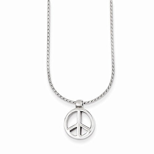 Sterling Silver Peace Sign Charm On 16 Chain Necklace, Best Quality Free Gift Box Satisfaction Guaranteed - shopvistar