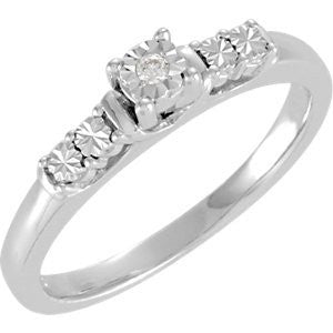 Sterling Silver .02 Ctw Engagement Ring, Size: 7 - shopvistar
