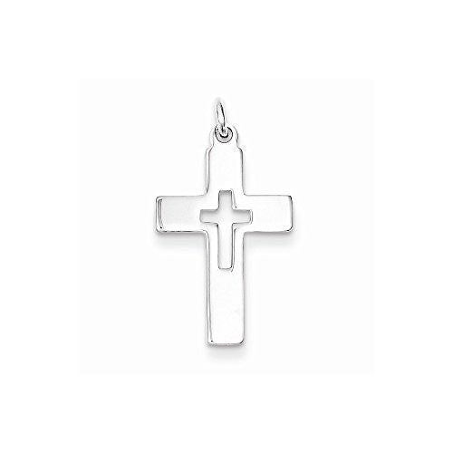 Sterling Silver Cut-out Cross Charm, Best Quality Free Gift Box Satisfaction Guaranteed - shopvistar