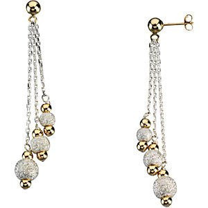 14K Yellow Gold And Sterling Silver Dangle Earrings - shopvistar