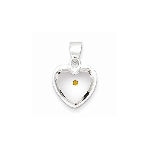 Sterling Silver Enameled With Mustard Seed Heart Pendant - shopvistar