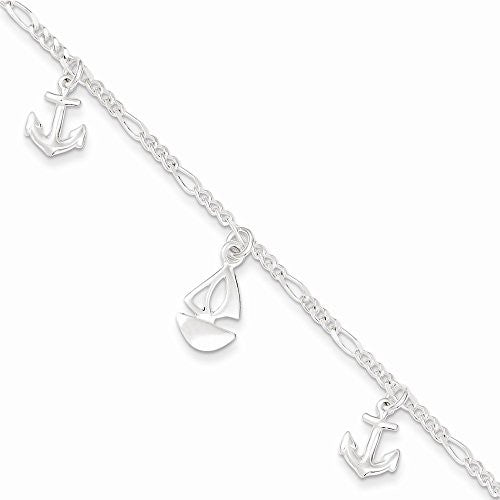 Sterling Silver Polished Boat And Anchor W/ 1in Ext. Anklet - shopvistar