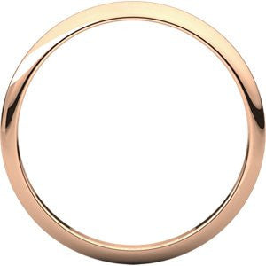 14K Rose Gold Half Round Band, Size: 7 - shopvistar