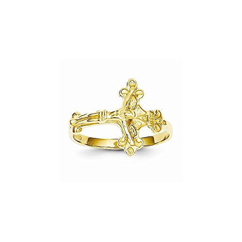 14k Satin & Dia-Cut Crucifix Ring, Best Quality Free Gift Box Satisfaction Guaranteed - shopvistar