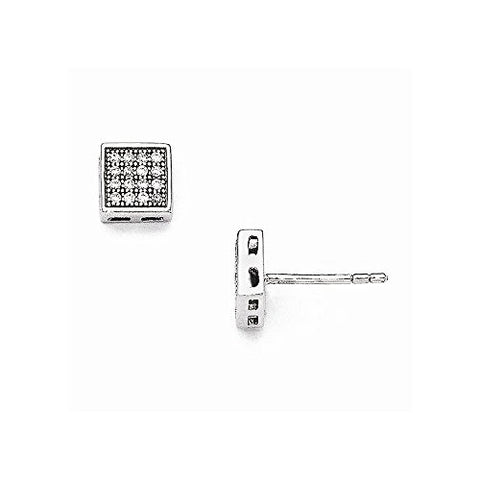 Sterling Silver & CZ Brilliant Embers Square Post Earrings - shopvistar