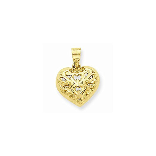 10k Dia-Cut Heart Charm, Best Quality Free Gift Box Satisfaction Guaranteed - shopvistar
