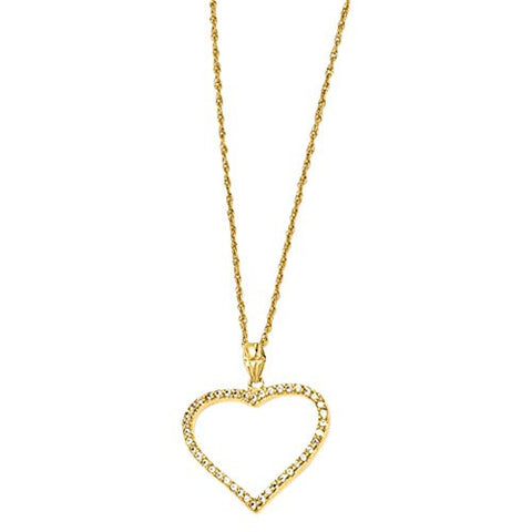 18in Gold-plated Cz Heart Necklace, Best Quality Free Gift Box Satisfaction Guaranteed - shopvistar
