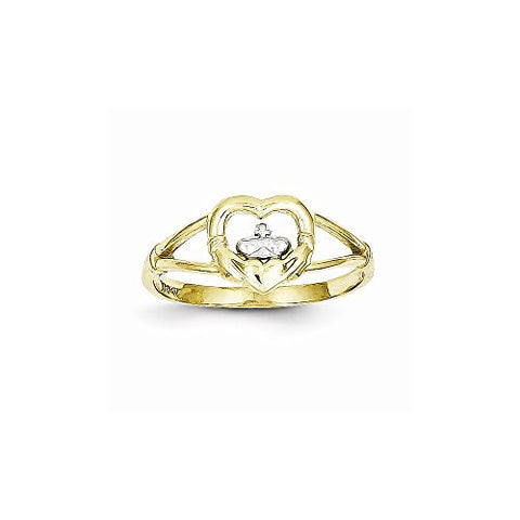 10k & Rhodium Ladies Claddagh Ring - shopvistar
