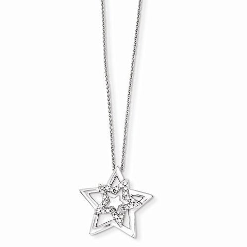 14k White Gold Diamond Star Pendant With 18 Chain, Best Quality Free Gift Box Satisfaction Guaranteed - shopvistar