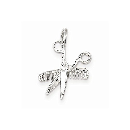 Sterling Silver Comb & Scissors Charm, Best Quality Free Gift Box Satisfaction Guaranteed - shopvistar