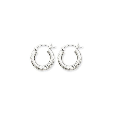 10k White Gold Dia-Cut 3mm Round Hoop Earrings, Best Quality Free Gift Box Satisfaction Guaranteed - shopvistar