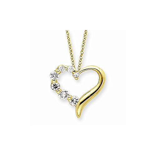 Sterling Silver Vermeil Cz Heart Journey Necklace, Best Quality Free Gift Box Satisfaction Guaranteed - shopvistar