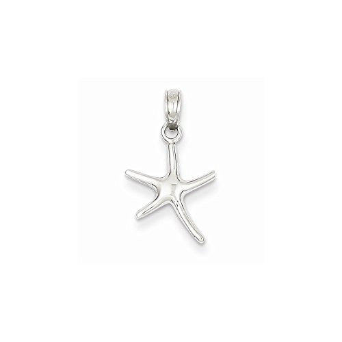 14k White Gold Small Polished Starfish Pendant, Best Quality Free Gift Box Satisfaction Guaranteed - shopvistar