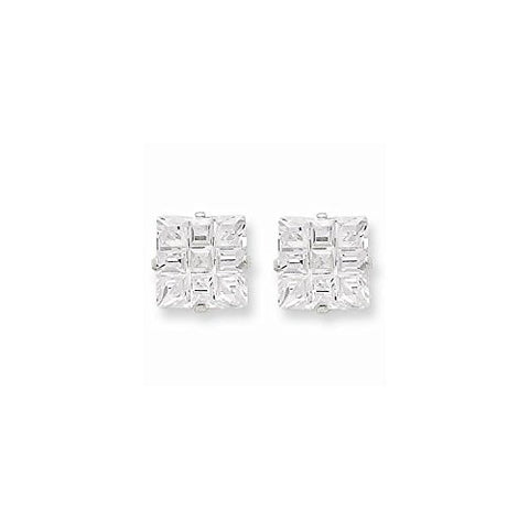 Set of Sterling Silver Studd Earrings 6mm and 8mm Square Cz 4 Prong - shopvistar