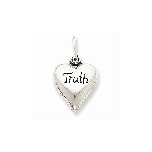 Sterling Silver Antiqued Truth Heart Pendant, Best Quality Free Gift Box Satisfaction Guaranteed - shopvistar