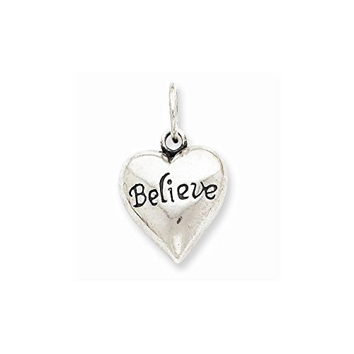 Sterling Silver Antiqued Believe Pendant, Best Quality Free Gift Box Satisfaction Guaranteed - shopvistar