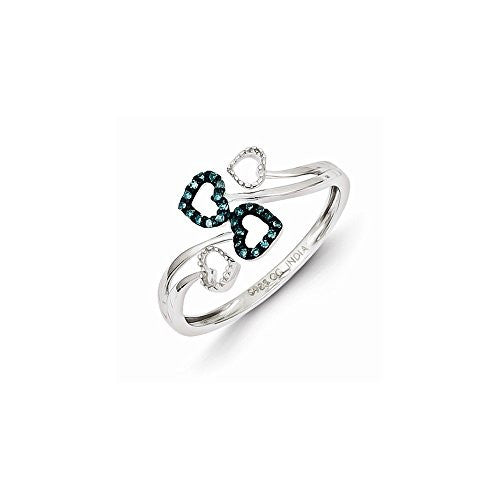Sterling Silver Blue And White Diamond Multi Heart Ring, Best Quality Free Gift Box Satisfaction Guaranteed - shopvistar