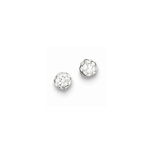 Sterling Silver Rhodium Plated Stellux Crystal Ball Post Earrings - shopvistar