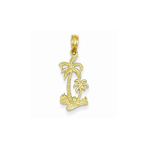 14k Double Palm Trees Pendant, Best Quality Free Gift Box Satisfaction Guaranteed - shopvistar