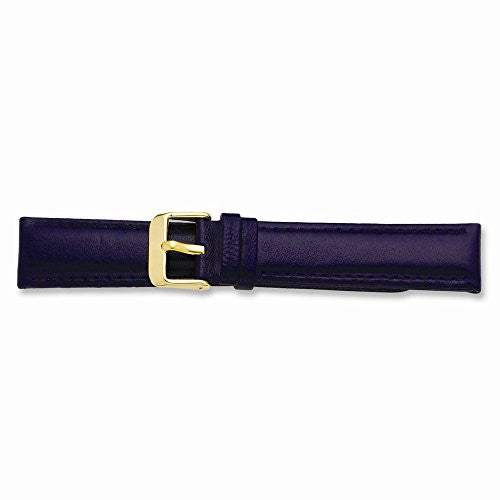 19mm Navy Glove Leather Gold-tone Buckle Watch Band, Best Quality Free Gift Box Satisfaction Guaranteed - shopvistar