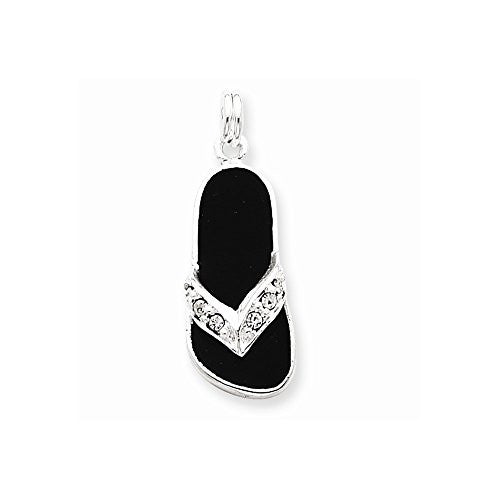Sterling Silver Black Enameled Czech Crystal Flip Flop Charm, Best Quality Free Gift Box Satisfaction Guaranteed - shopvistar