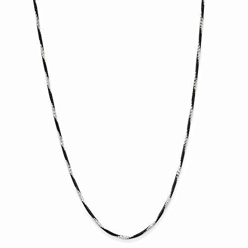 Sterling Silver & Black Rhodium Dia-Cut Fancy Necklace, Best Quality Free Gift Box Satisfaction Guaranteed - shopvistar
