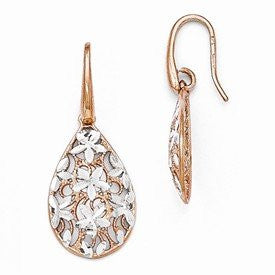 Leslies Sterling Silver Rose Gold-toned Polished Textured Earrings - shopvistar