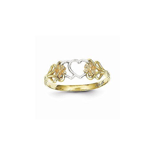 10k Two-tone & Rhodium Double Heart Ring - shopvistar