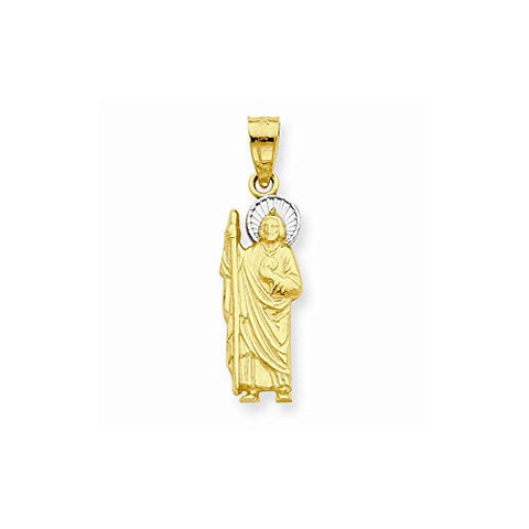 10k & Rhodium Saint Jude Charm, Best Quality Free Gift Box Satisfaction Guaranteed - shopvistar