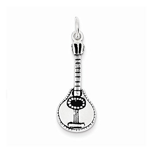 Sterling Silver Antiqued Ukulele Charm, Best Quality Free Gift Box Satisfaction Guaranteed - shopvistar