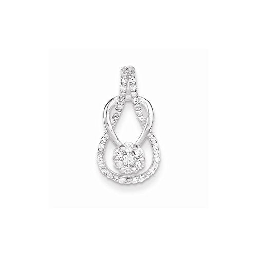 Sterling Silver CZ & Teardrop Pendant, Best Quality Free Gift Box Satisfaction Guaranteed - shopvistar