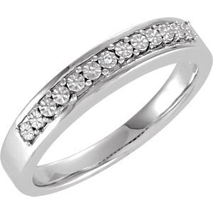 Sterling Silver .003ctw Diamond Wedding Band, Size: 9 - shopvistar