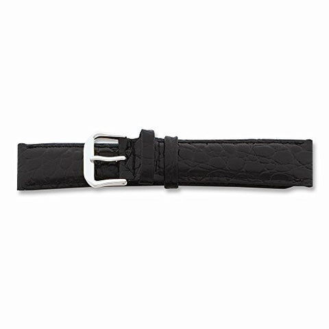 15mm Black Alligator Grain Lthr Slvr-tone Buckle Watch Band, Best Quality Free Gift Box Satisfaction Guaranteed - shopvistar