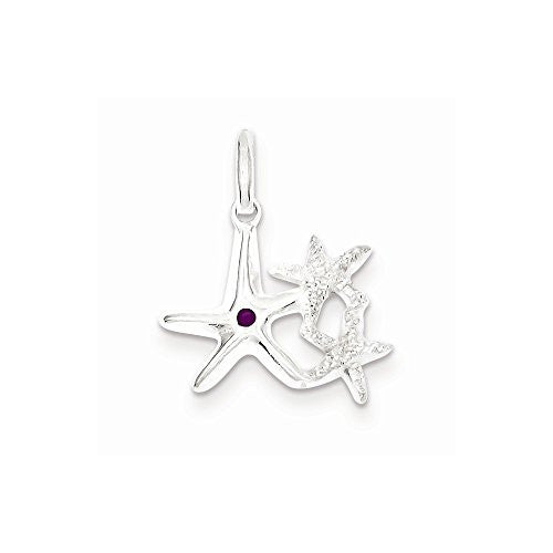 Sterling Silver Laser Cut Purple Enamel Star Fish Trio Pendant - shopvistar