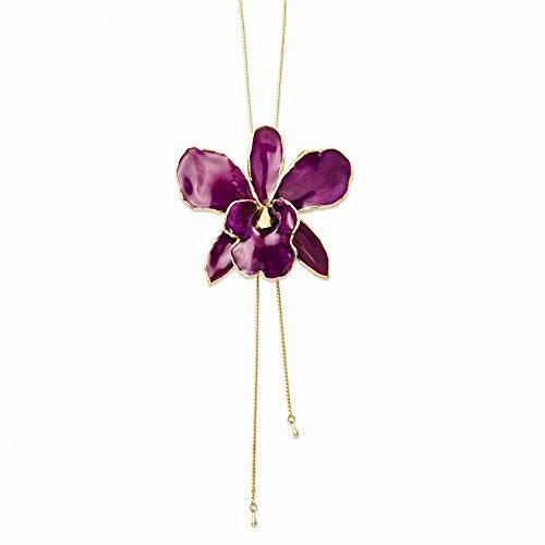 Lacquer Dipped Purple Cattleya Orchid Adjustable Necklace - shopvistar
