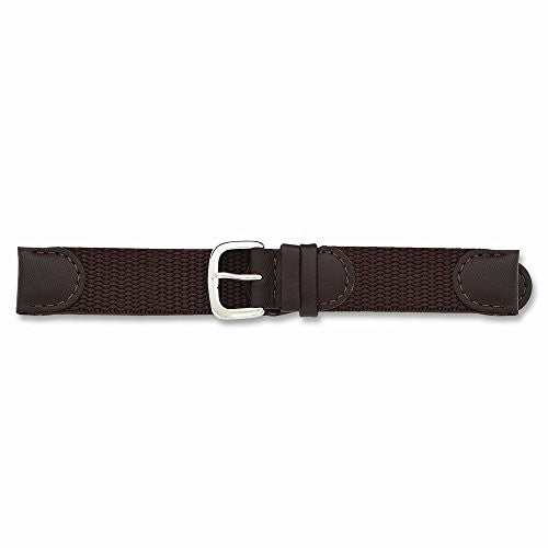 18mm Brown Army Fabric Silver-tone Buckle Watch Band by Swiss Eagle, Best Quality Free Gift Box Satisfaction Guaranteed - shopvistar