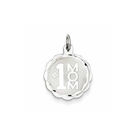Sterling Silver 1 Mom Disc Charm, Best Quality Free Gift Box Satisfaction Guaranteed - shopvistar