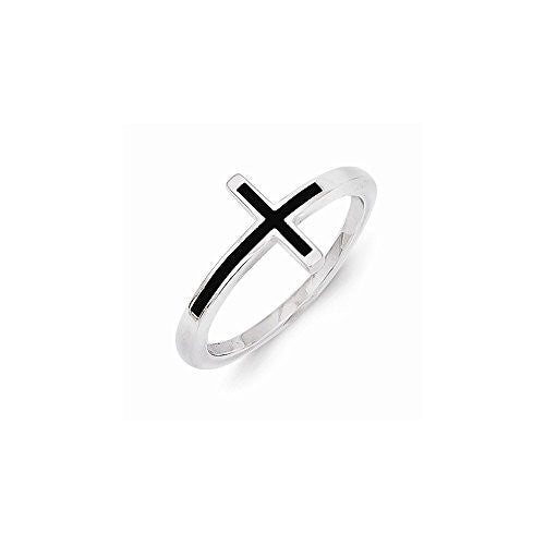 Sterling Silver Antiqued Sideways Cross Ring , Size: 8 - shopvistar